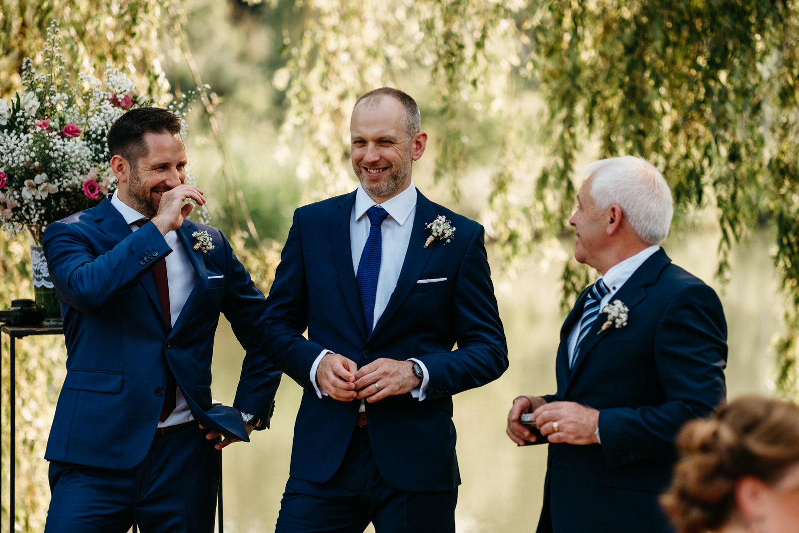relaxed outdoor lake wedding